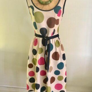 1960s Coin Spot Sleeveless Dress